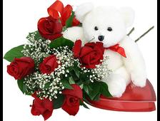 Милый презент 7 красных роз, белый плюшевый Мишка коробка шоколадных конфет
