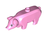 Pig with Black and White Eyes and Eyelashes Pattern ;Hamletta;, Bright Pink (87621pb04 / 6194399)