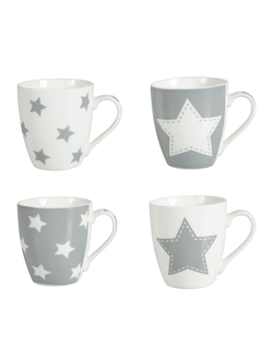 Кружка ASSORTMENT OF 4 PORCELAIN MUGS WITH WH./GREY STARS