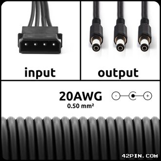 Переходник 1xMolex >> 3 x Barrel 5.5x2.1mm 20AWG, длина 30-120 см