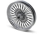 "0203-0402 Drag Specialties FAT DADDY BLACK 50-SPOKE RADIAL LACED WHEEL 21""X3.5"" CHROME"