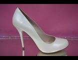 Перламутровые айвори шампань свадебные туфли классика круглый мыс на высоком каблуке шпилька кожаные № 085-А301=В301