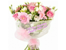 Букет из Альстромерий, роз и розовых Гербер