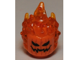 Minifig, Head Modified Alien with Trans-Orange Flaming Hair and Pumpkin Jack O; Lantern Pattern, Orange (26990pb01 / 6154052 / 6192603)