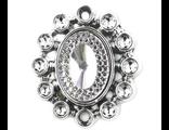 Декоративная брошь со стразами 30*33 мм серебро