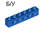 ! Б/У - Technic, Brick 1 x 6 with Holes, Blue (3894 / 389423) - Б/У