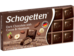 Schogetten Dark Chocolate with Cocoa & Hazelnut 100g (Германия)