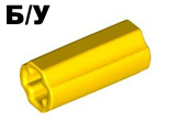 ! Б/У - Technic, Axle Connector 2L  Smooth with x Hole + Orientation , Yellow (6538c / 4519010) - Б/У