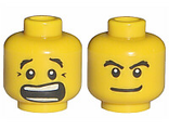 Minifig, Head Dual Sided Black Eyebrows, White Pupils, Mouth Open Scared / Mischievous Pattern - Blocked Open Stud, Yellow (3626bpb0272 / 4506812)