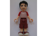 Friends Nate, Dark Red Cropped Trousers Large Pockets, Red and White Striped Shirt, n/a (frnd162)