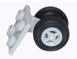 Plate, Modified 2 x 2 Thin with Dual Wheels Holder - Split Pins with Light Bluish Gray Wheels and Black Tires  4870 / 4624 / 59895 , Light Bluish Gray (4870c07)