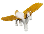 Pegasus, Elves with Medium Lavender Eyes and Gold Mane and Tail Pattern Golden Glow - Complete Assembly, White (Pegasus01)