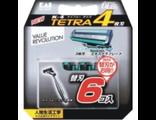 Лезвия сменные для мужской безопасной бритвы K 4 Tetra — 4 лезвия, с плавающей головкой и антибактериальной полоской / KAI / 6 шт.