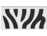 Tile 1 x 2 with Zebra Stripes Pattern, White (3069bpb534 / 6172460)
