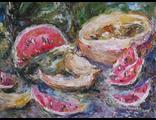 """Круглова Светлана. """"Арбузная пора"""",  холст / масло,  30 х 40 см.,  2015 г."""
