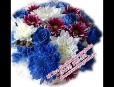 Синие цветы в шляпной коробке Люкс