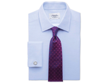Рубашка CHARLES TYRWHITT Slim fit Egyptian cotton diamond texture sky blue shirt