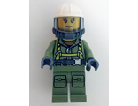 Volcano Explorer - Female Worker, Suit with Harness, Construction Helmet, Breathing Neck Gear with Airtanks, Trans-Black Visor, n/a (cty0681)
