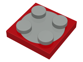 Turntable 2 x 2 Plate with Light Gray Top, Red (3680c01)