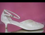 Свадебные туфли айвори открытые туфли с закрытым носиком и пяткой круглый мыс низкий каблук украшены стразами № 668-65=65