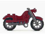 Motorcycle Vintage, Complete Assembly with Black Chassis and Light Bluish Gray Wheels, Dark Red (85983c01)