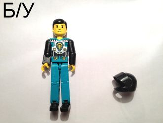 ! Б/У - Technic Figure Dark Turquoise Legs, Dark Turquoise Torso with Yellow, Black, Silver Pattern, Black Arms, n/a (tech013) - Б/У