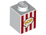 Brick 1 x 1 with Red Vertical Stripes and Yellow 'POP' in Speech Bubble Popcorn Box Pattern, White (3005pb028 / 6187289 / 6253658)