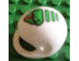 ! Б/У - Technic, Figure Accessory Helmet with Green Viper Pattern - Set 8255, White (2715pb01) - Б/У