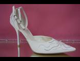 Свадебные белые открытые туфли с закрытым носиком и пяткой острый мыс кожаные классика купить салон