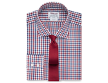 Рубашка T.M.LEWIN Slim Fit Navy Red Block Check Poplin Shirt