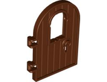 Door 1 x 4 x 6 Round Top with Window and Keyhole, Reinforced Edge, Reddish Brown (64390 / 4561915)