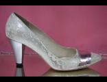 Свадебные туфли кожаные серебренные средний широкий каблук № 1743-41=11