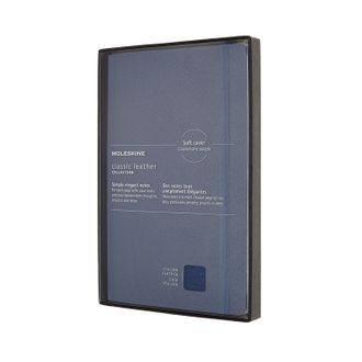 Блокнот Moleskine Leather (в линейку),  Large, синий