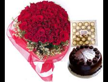 51 красная роза, шоколадный торт и коробка Ferrero Rocher
