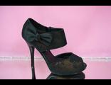 Туфли черные с отливом золотым открытый мыс бант средний каблук выпускной вечер купить фото цены