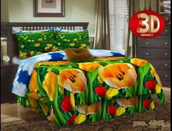 Тюльпаны. Постельное белье из набивной бязи традиции текстиля, цельнокройное, не линяет, не красится, не образует катышков