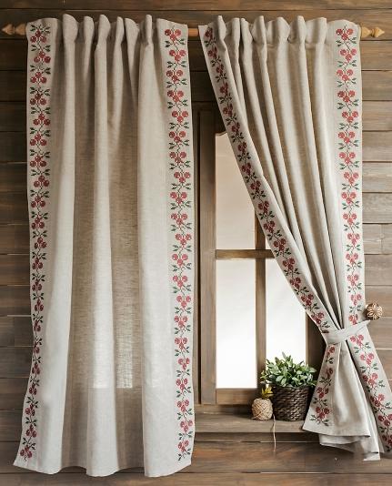 шторы из льна фото для кухни