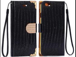Кожаный чехол-книжка Lizard Black Flip для iPhone 6/6s