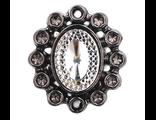 Декоративная брошь со стразами 30*33 мм черный никель