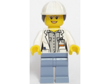 Volcano Explorer - Female Scientist, White Construction Helmet with Long Hair, n/a (cty0693)
