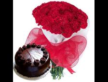45 красных Гвоздик и шоколадный торт