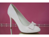 Распродажа свадебные туфли белые круглый мыс украшены милым бантиком стразами гипюр средний каблук  шпилька № 5