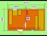 """Схема готовой брусовой бани - размером 4 х 2,3 метра.Печь """"Ермак"""" труба выходит через крышу"""