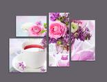 """модульная картина """"Чашка чая и букет цветов"""""""
