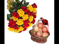 25 роз и корзина яблок