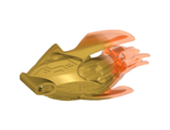 Bionicle Creature Head/Mask with Marbled Trans-Neon Orange Pattern, Pearl Gold (24162pb04 / 6135042)