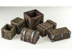 Set of boxes and chests (painted)