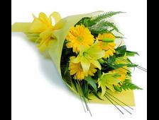 Желтый Гербер с Лилией букет Солнечно