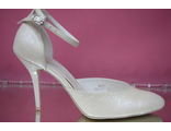Свадебные туфли айвори открытые туфли с закрытым носиком и пяткой украшены выбитой кожей № 761-01=01