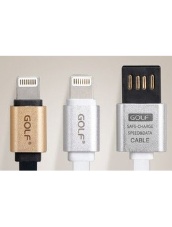 USB кабель для iPhone 5/5S/5C/6/6S/6plus Golf USB cable Lightning metal flat